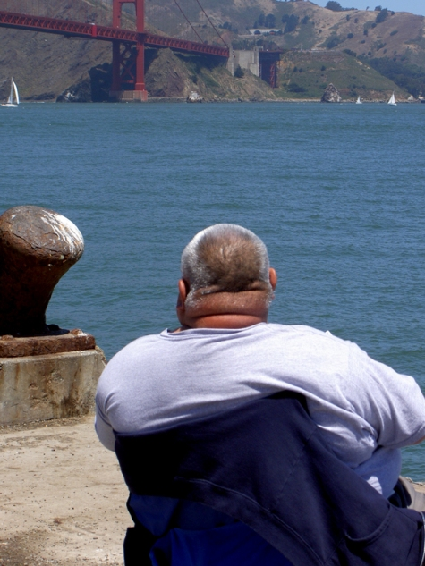 Fisherman near Golden Gate Bridge