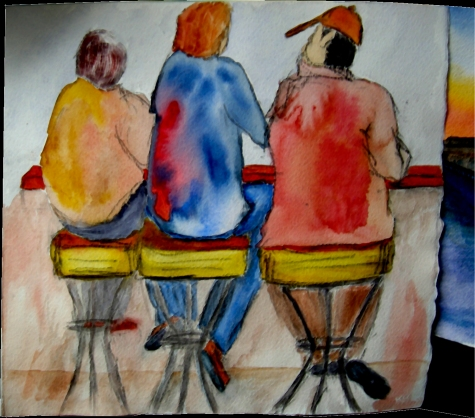 Backsides of 3 men sitting on bar stools, watercolor