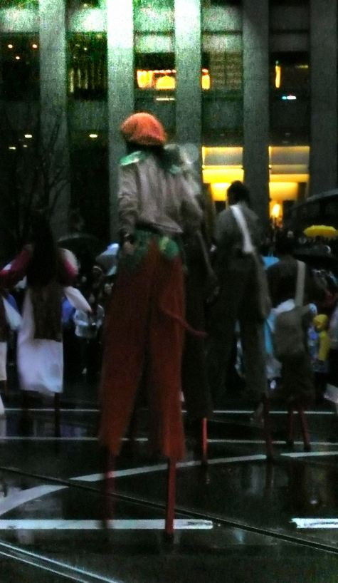 Boy on Stilts on Market Street, San Francisco, at Chinese New Year's Parade