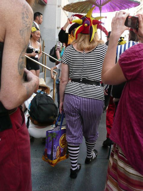 photo from st. stupid's day parade of woman in stripes