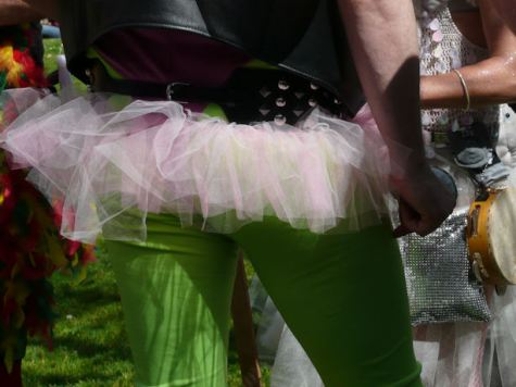 green tights with pink tutu by san francisco artist sarah curtiss