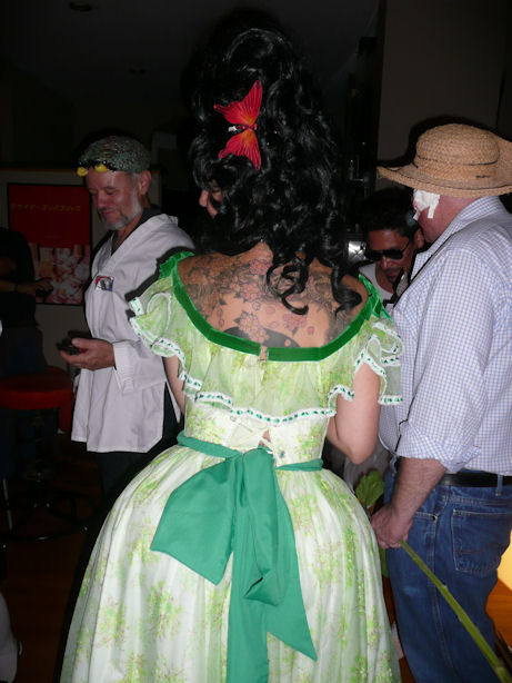 tattoed woman in southern dress