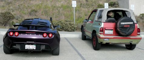 rear end of Ferrari Lotus and geo tracker